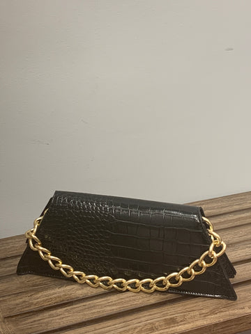 The Black Croc Clutch