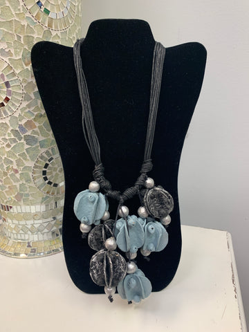 Blue Gray Abstract Necklace