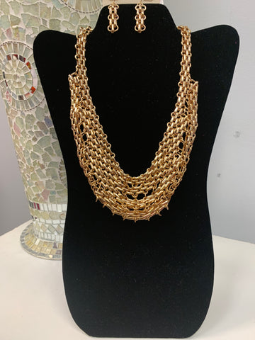 Flat Gold Rope Chain Set