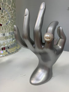 Silver Pearl Bling Ring