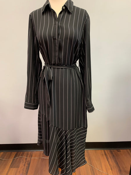 Striped Ruffle Asymmetrical Shirt Dress