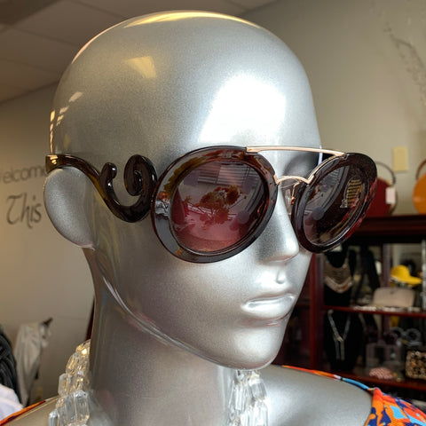 Brown Gold Swirl Sunglasses