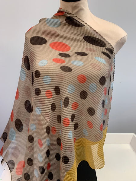 Yellow Tan Dotted Scarf