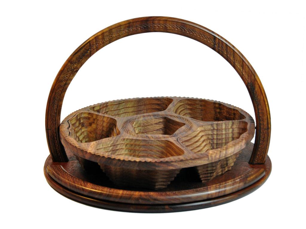 Handmade Rosewood Collapsible Basket - 5 Compartment 16inc.