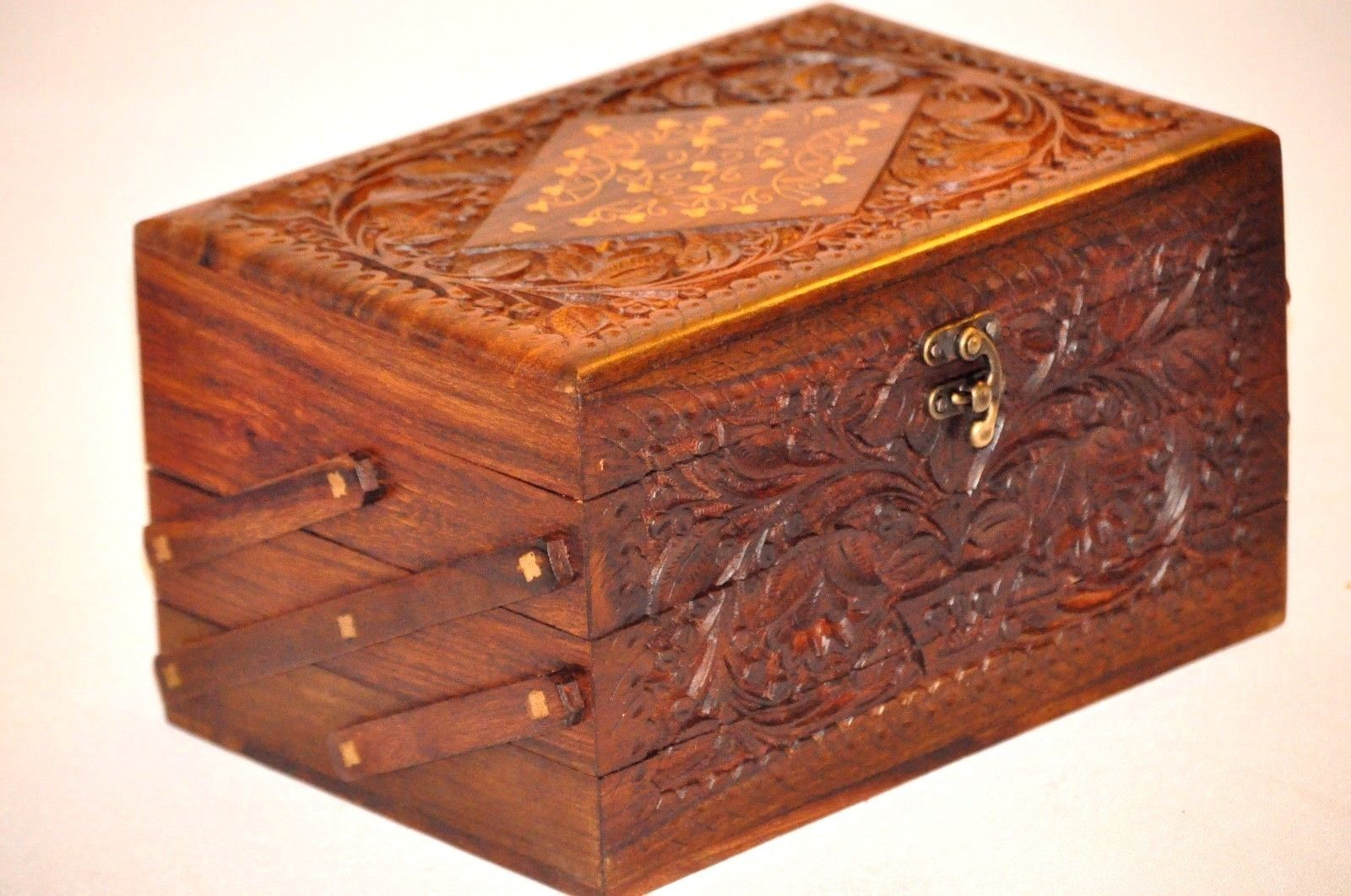 Handmade Rosewood jewelry carved chest box 3 Tier