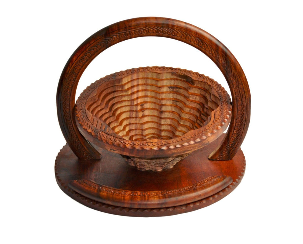 Handmade Rosewood Collapsible Basket - Flower Compartment