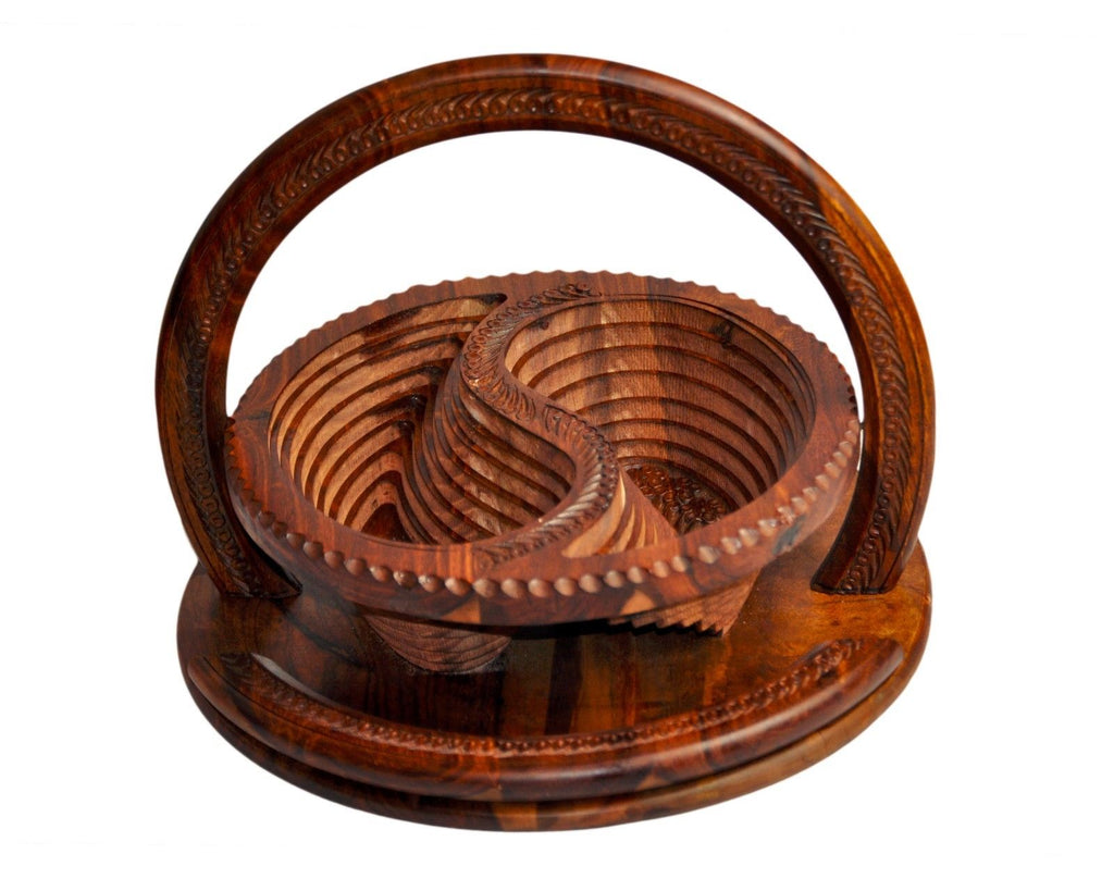 Handmade Rosewood Collapsible Basket - 2 Compartment.