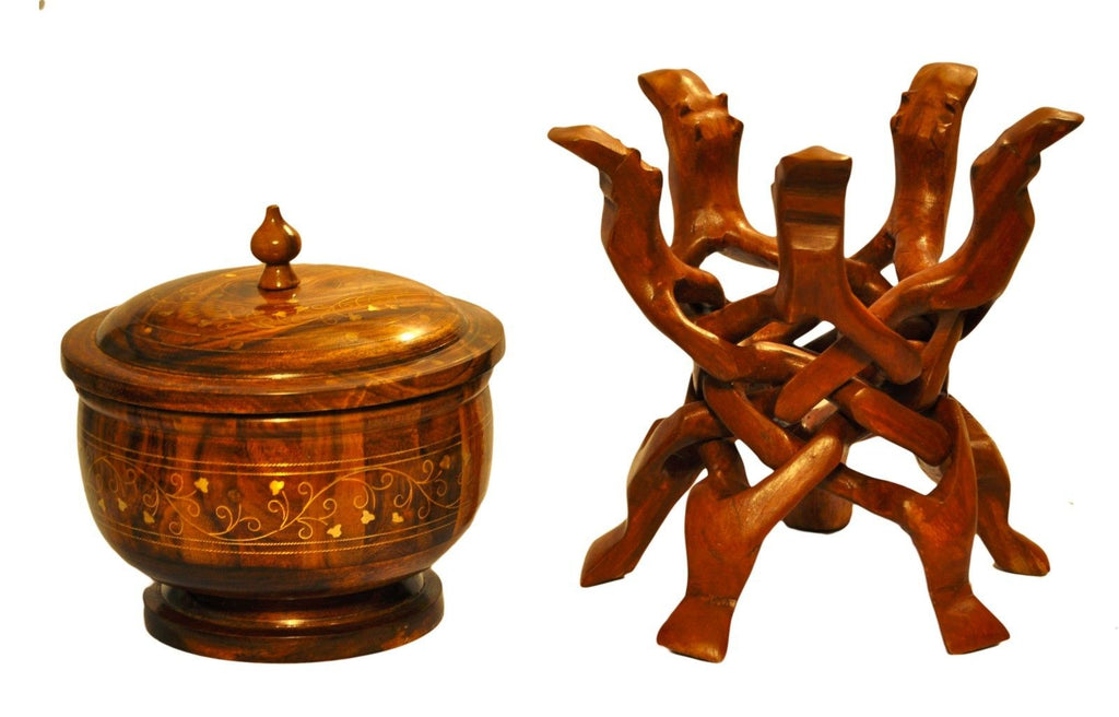Decorative rosewood bowl with stand serving set