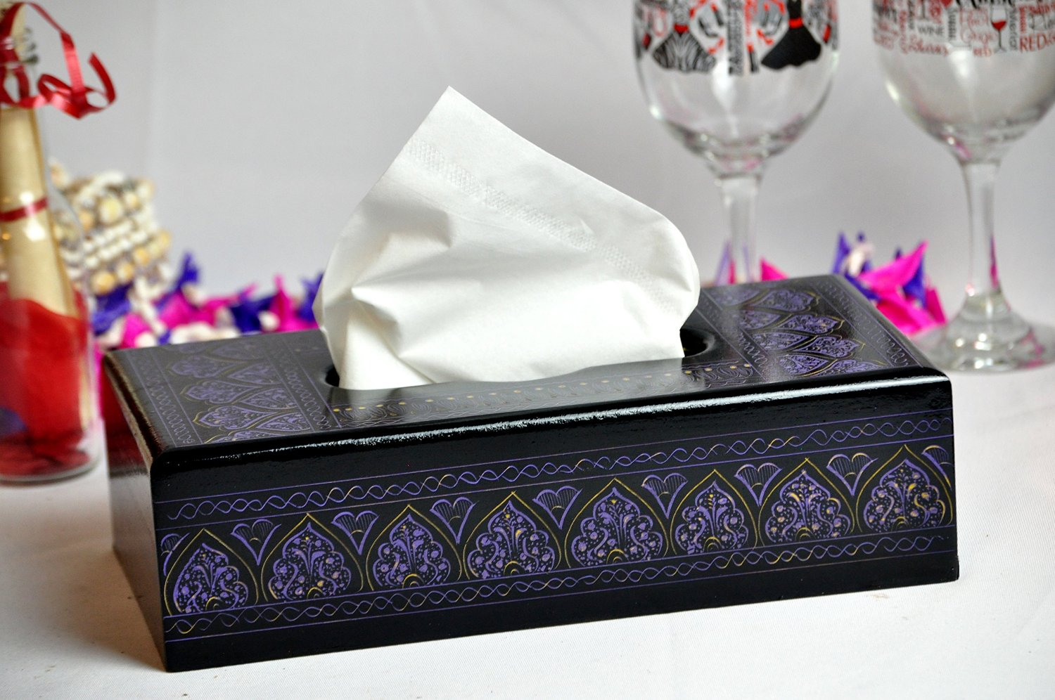 Lacquer Art Tissue Box cover - Purple