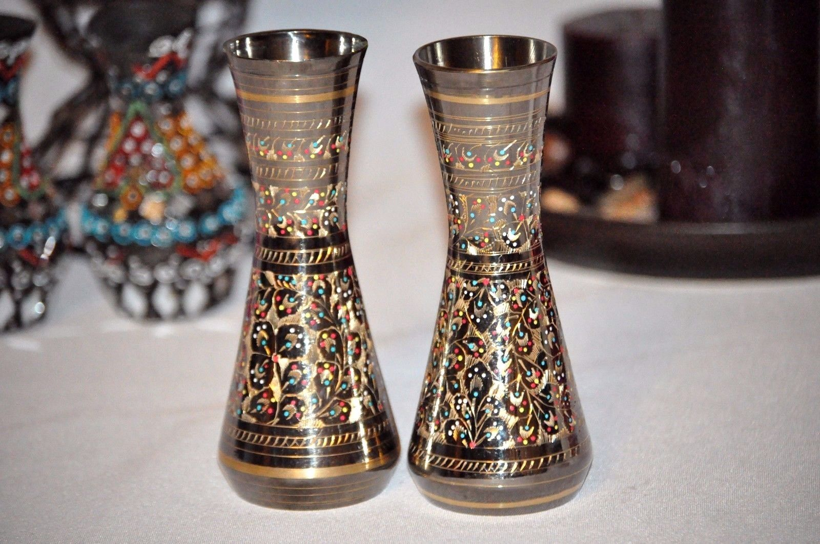 Handcarved Brass Flower Vase Pair.