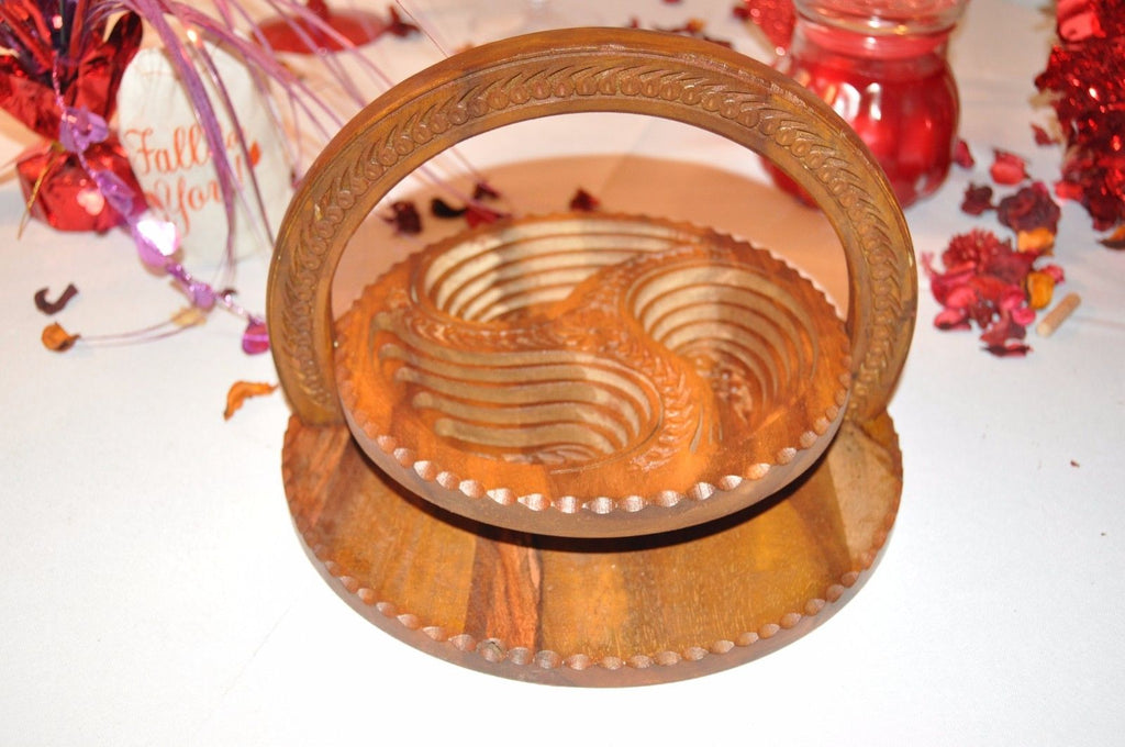 Handmade Rosewood Collapsible Basket - 3 Compartment