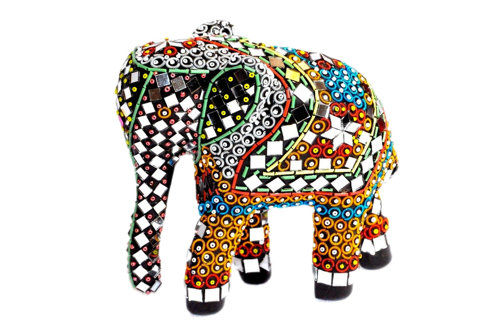Handcrafts Elephant Mirror Beads work Decorative