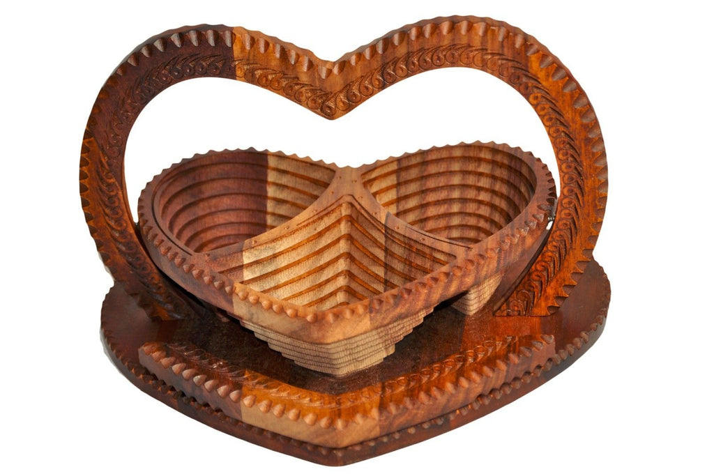Handmade Rosewood Collapsible Basket - Heart- 3 Compartment