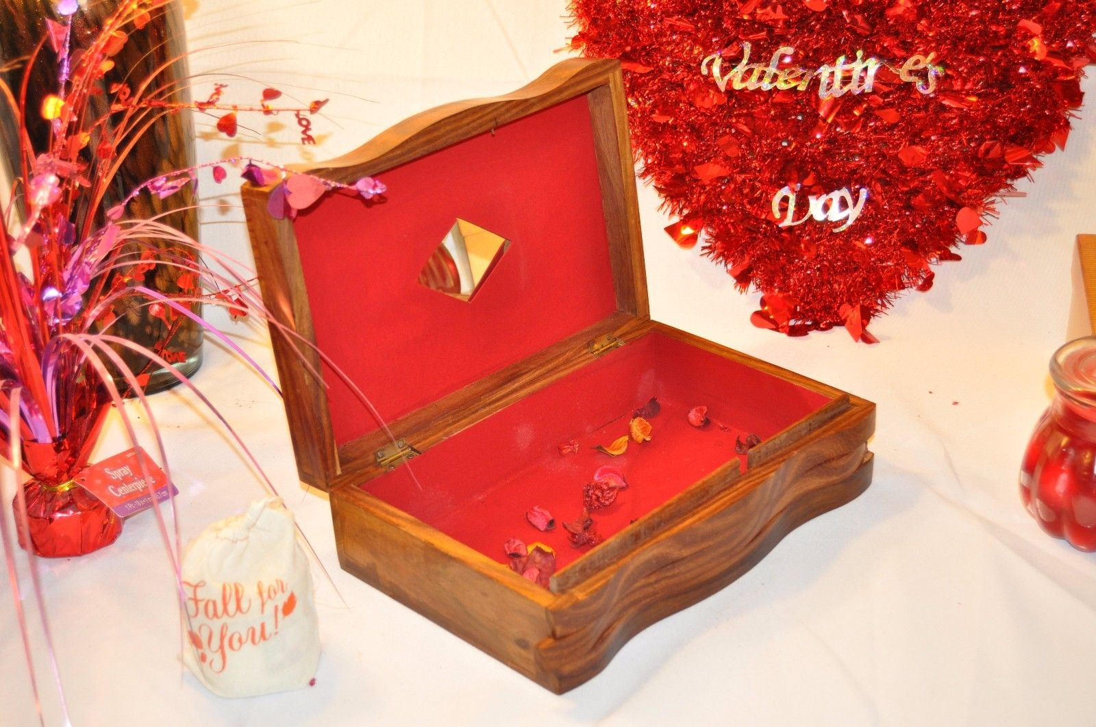 Secret lock Vintage Carved Wooden Jewelry box