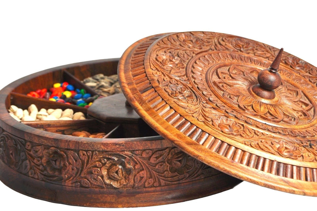 Rosewood dry fruit-candy carving bowl decorative High end