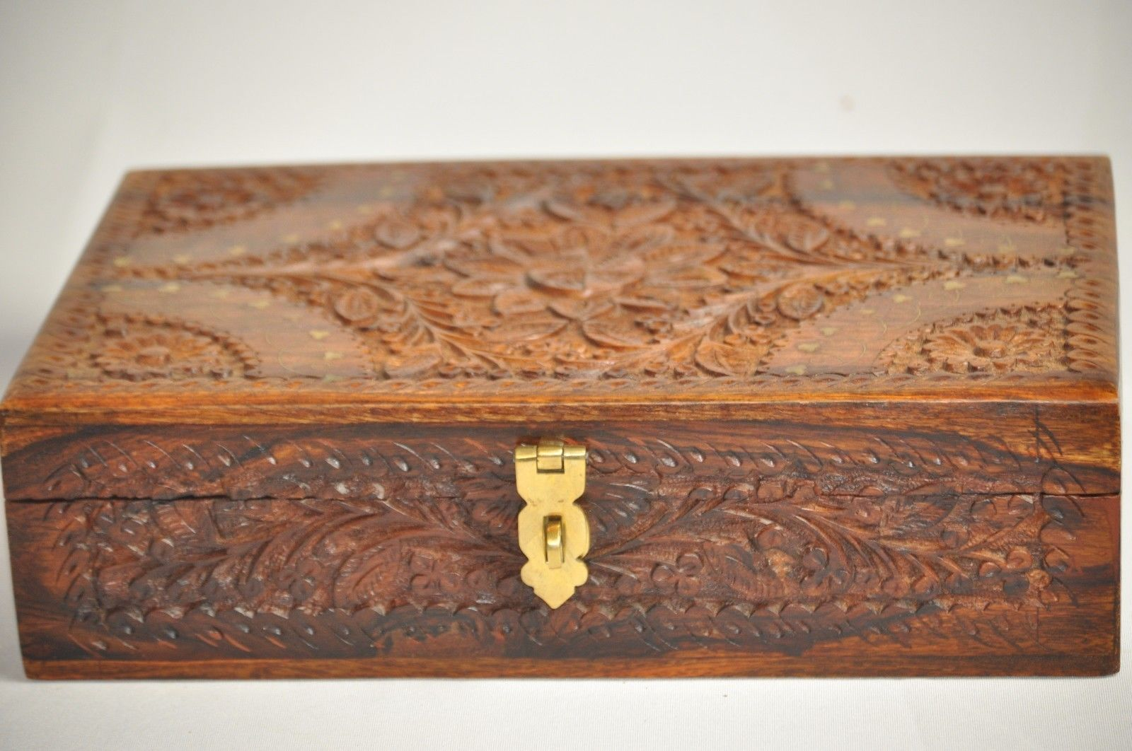 Handmade Rosewood jewelry carved chest box