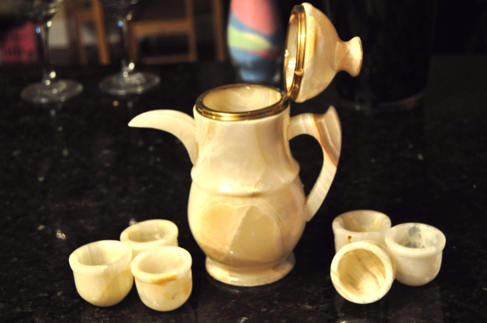 Onyx Marble tea pot server set