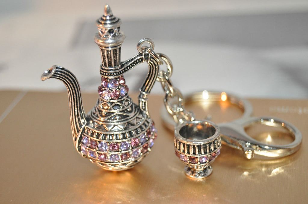 Arabia Tea pot and cup keychain- Purple