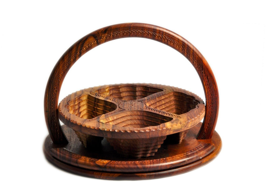 Handmade Rosewood Collapsible Basket - 4 Compartment 14inc.
