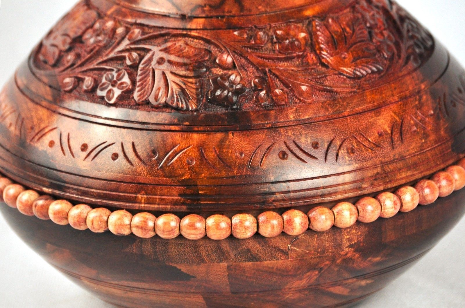 wooden Hand carved Matka-Earthen pot. small