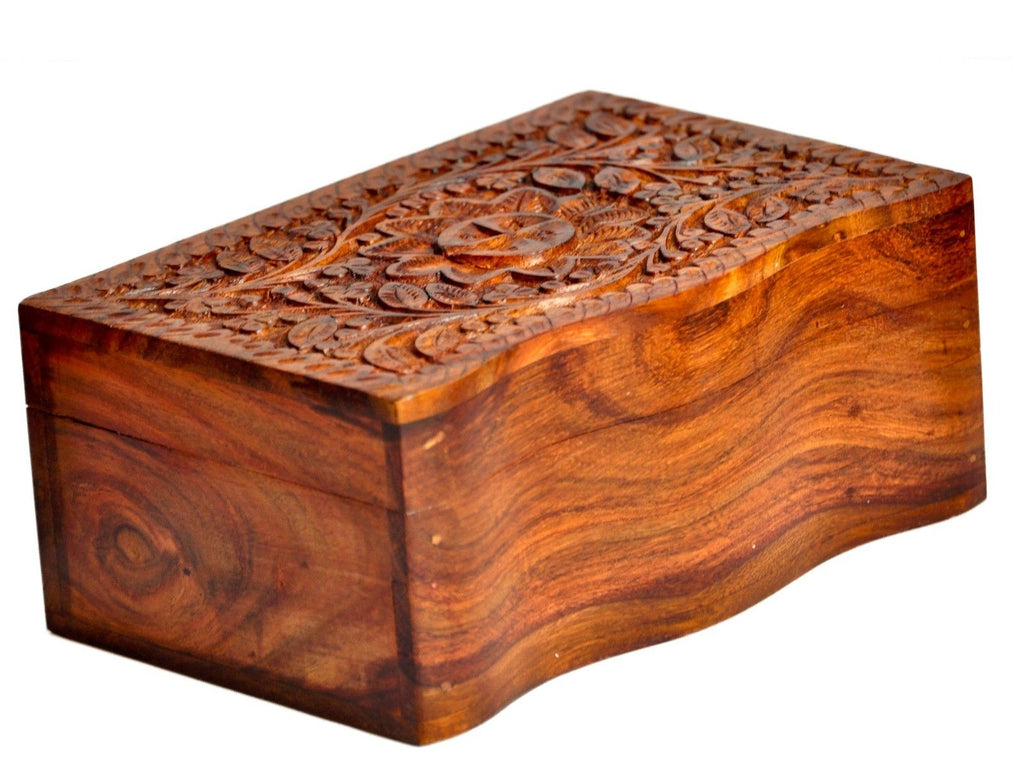 Secret lock Vintage Carved Wooden Jewelry box small