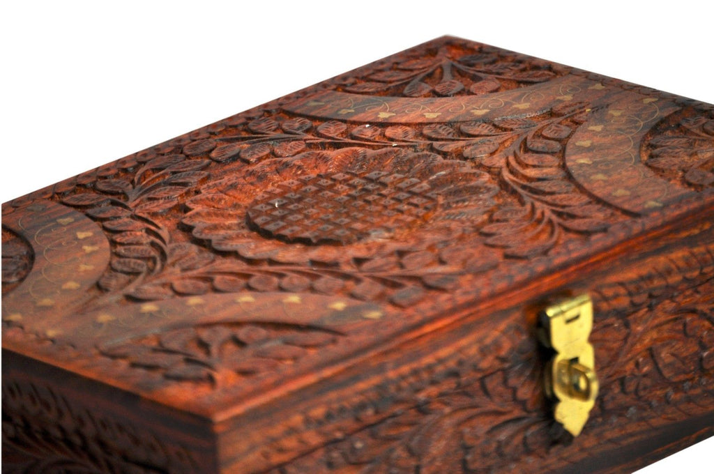 Hand carved Wooden Jewelry box- 12x8inc.