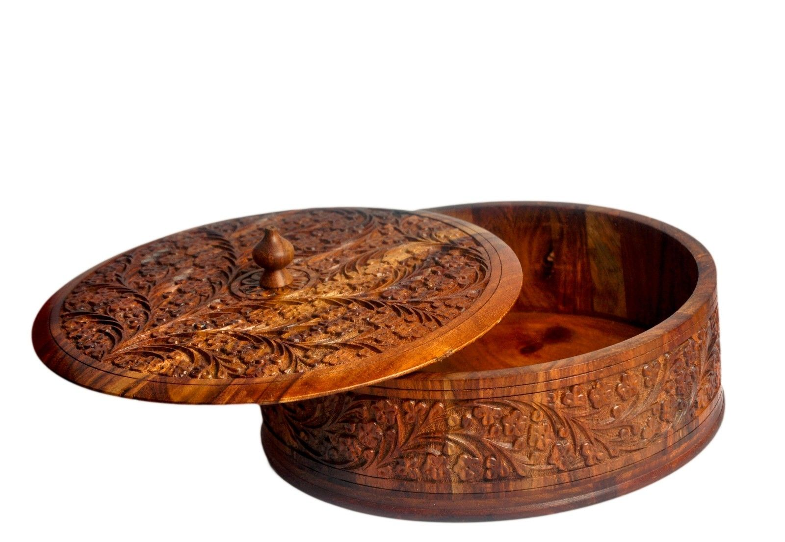 Wooden Dry Fruit Box- Hand Carved by Craftsman