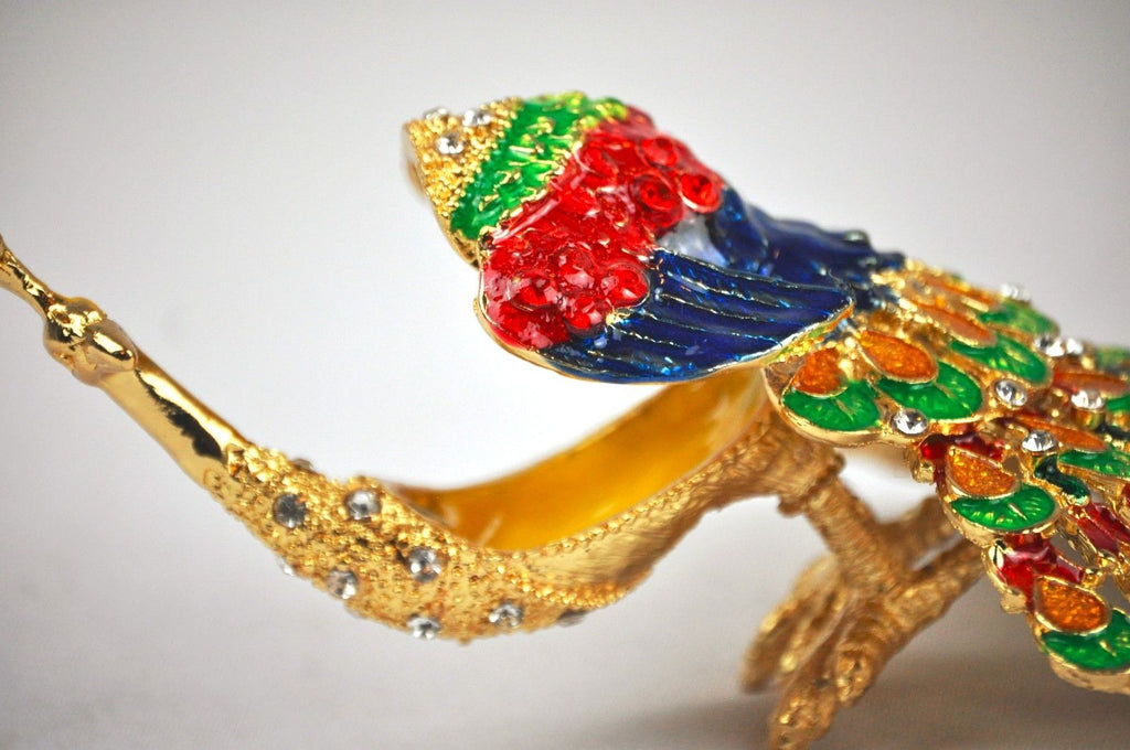 Decorative peacock trinket box.