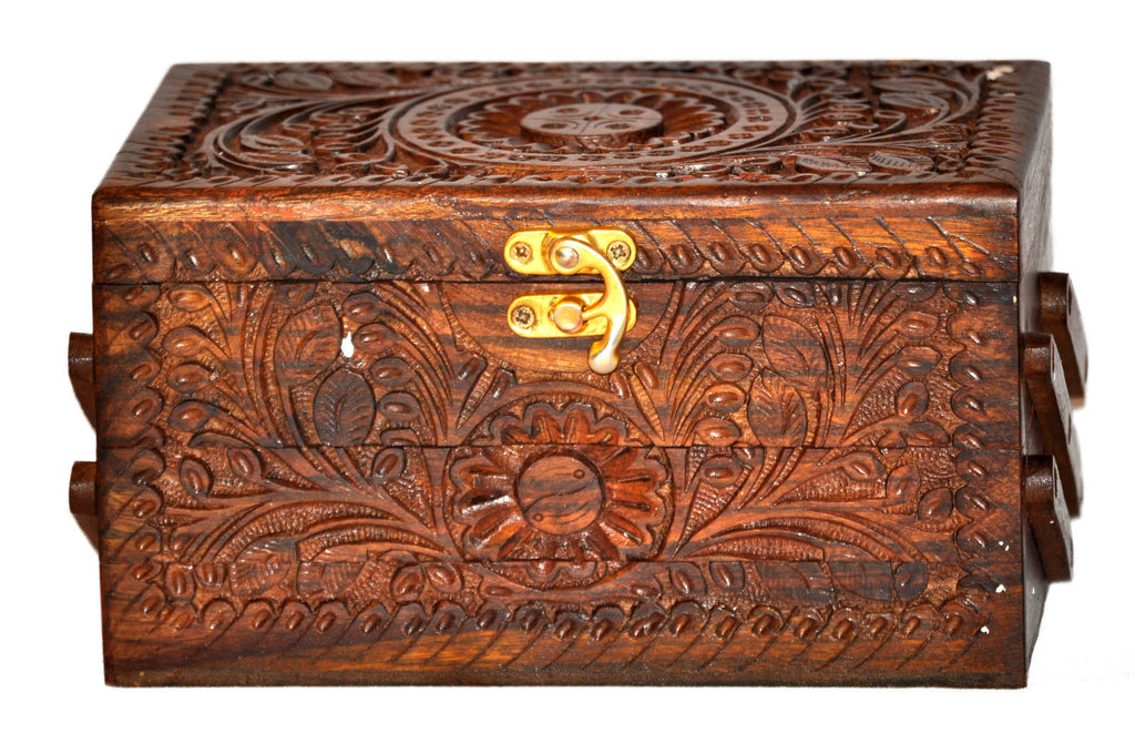 Handmade Rosewood jewelry carved chest box 3 Tier small