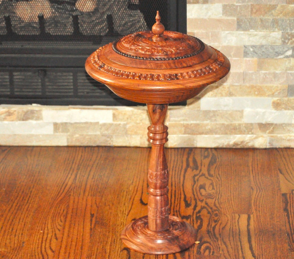wooden Hand carved stand bowl-Cookie bowl