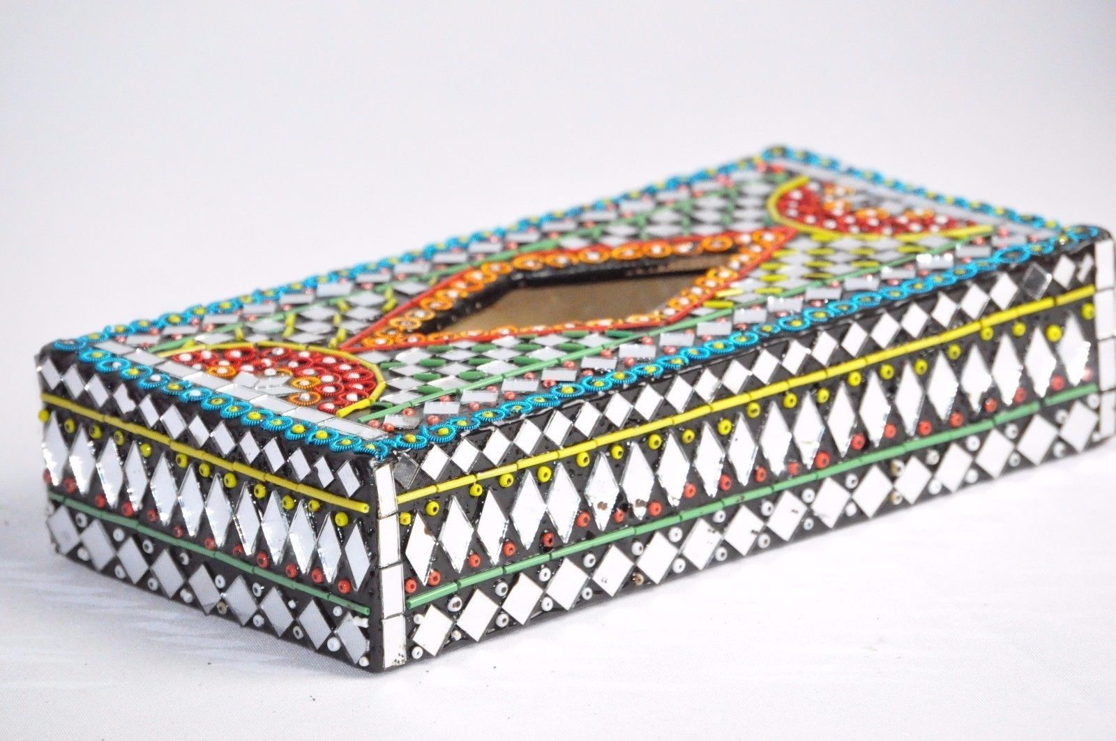 Handcrafts Tissue Cover Box Mirror Beads work