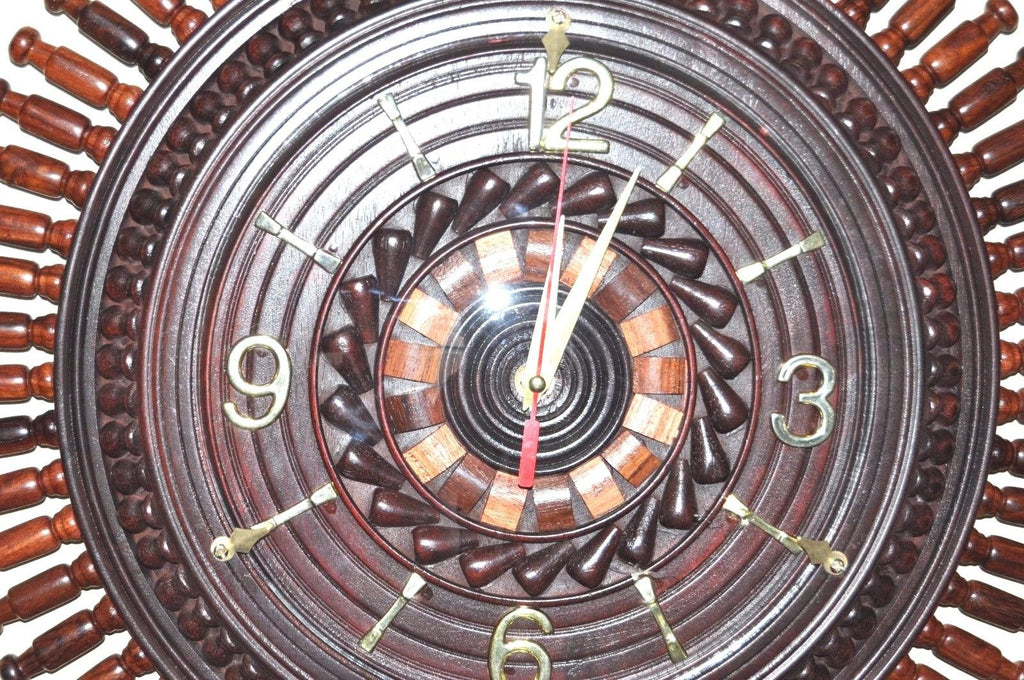 Handmade Rosewood Carved Wall clock 18""