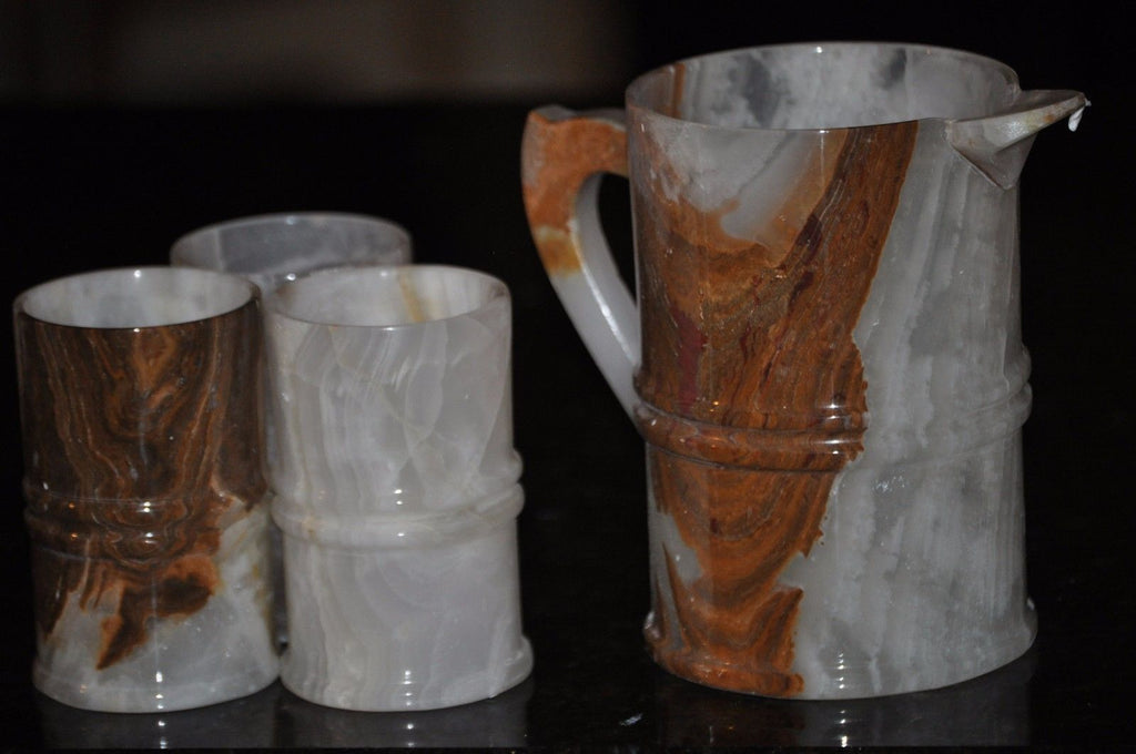 Onyx Marble Water Pitcher and Glass set