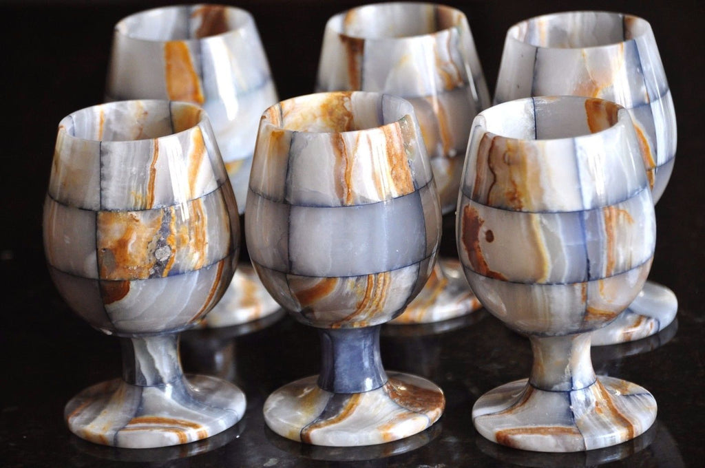 Onyx Marble Wine Glass Blue-brown set- 6 piece
