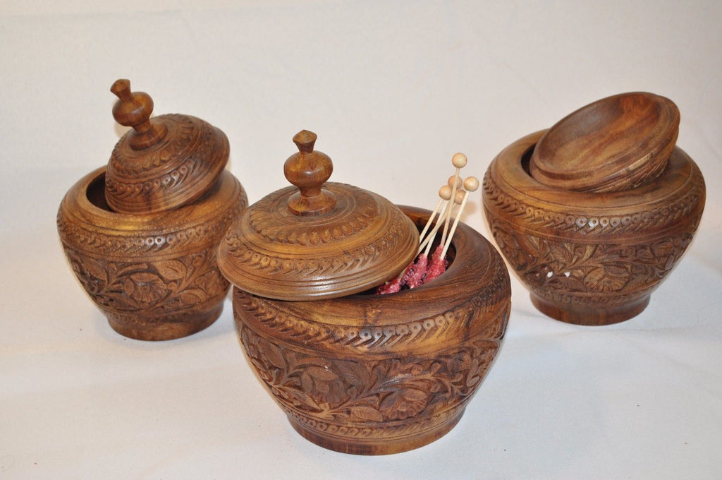 Handmade Rosewood Carved Candy Jar- 3 Piece
