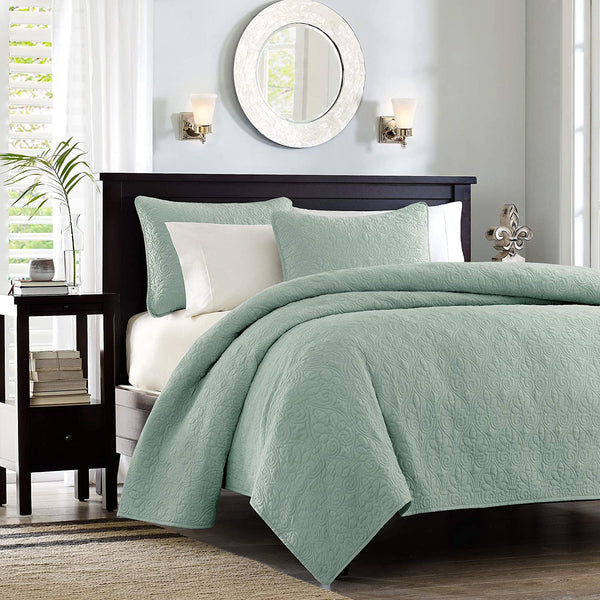 Madison Park Quebec 3 PC Coverlet Double Sided Classic Bohemian Design in Seafoam green