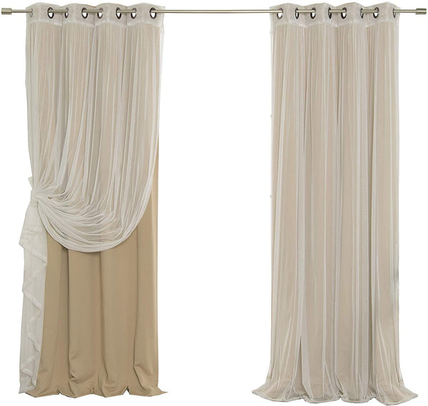 Best Home Fashion uMIXm Mix and Match Tulle Sheer Lace and Blackout 2 Piece Curtain Set