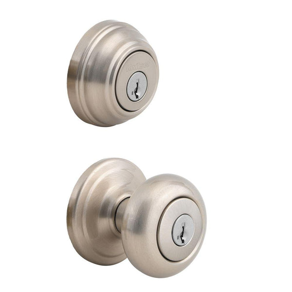 Kwikset Juno Exterior Entry Door Knob and Single Cylinder Deadbolt Combo