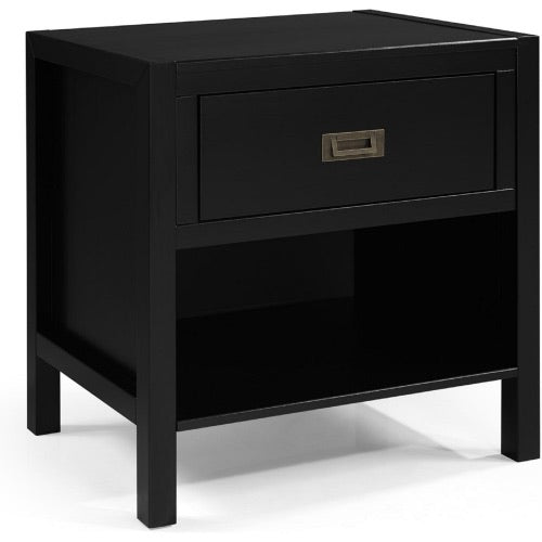 1 Drawer Classic Solid Wood Nightstand in Black by Walker Edison