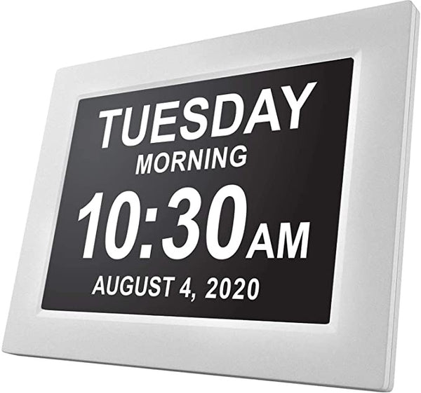 SVINZ 3 Alarms Dementia Clock, 2 Auto-Dim Options, Large Display Digital Calendar Day Clock
