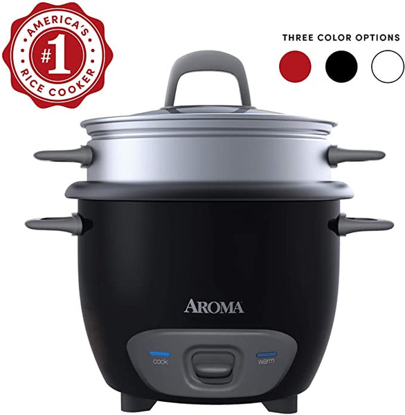 Aroma Housewares 6-Cup (Cooked) Pot-Style Rice Cooker and Food Steamer, Black ARC-743-1NGB
