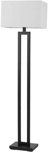 "Globe Electric 67046 D'Alessio 58"" Floor Lamp, Matte Black, White Linen Shade, On/Off Socket Rotary Switch"