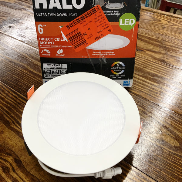 Halo HLB 6 in. Selectable CCT Canless Recessed Integrated LED Kit