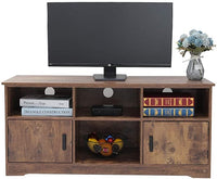 usikey Wooden TV Stand with 4 Storage Shelves&2 Cabinet, TV Console Cabinet