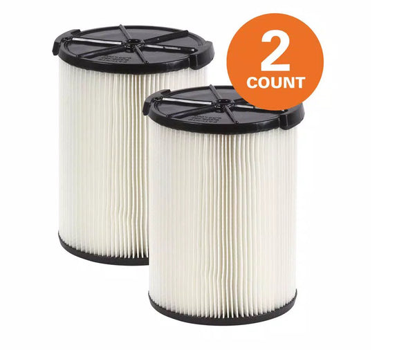 1-Layer Standard Pleated Paper Filter for Most 5 Gal. and Larger RIDGID Wet/Dry Shop Vacuums (2-Pack) by RIDGID