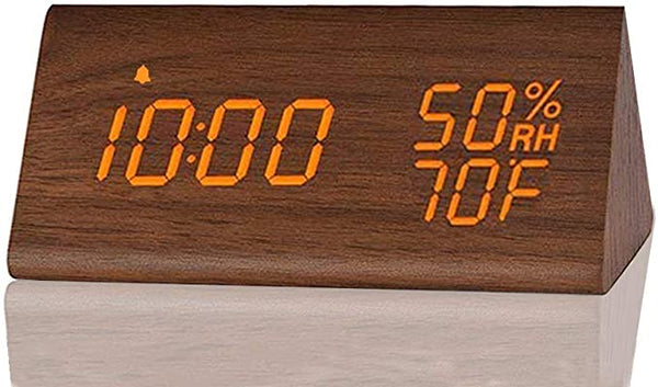 Digital Alarm Clock With Wooden Electronic Led Time Display 3 Alarm Settings Humidity Temperature Detect Wood Made Electric Clocks For Bedroom Bedside Brown Bargain Junction Liquidation Store