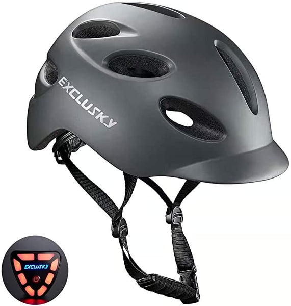 Exclusky Adult Bike Helmet with Rechargeable USB Safety Light for Urban Commuter