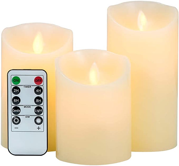 3-Pack LED Flameless Candles: LOFTEK Dripless Real Wax Mood Light with Realistic Dancing Flame