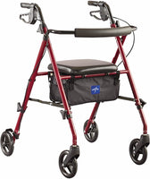Medline Freedom Mobility Lightweight Folding Aluminum Rollator Walker w/ 6-inch Wheels