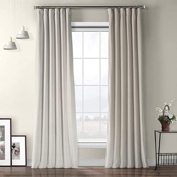 Half Price Drapes VPYC-161204-84 Heritage Plush Velvet Curtain (1 Panel), 50 X 84, Light Beige
